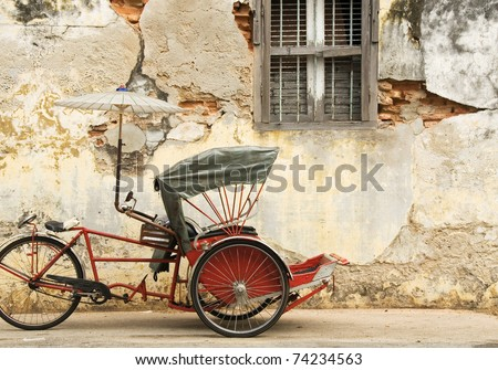 Old Red Trishaw, George Town, Penang - stock photo