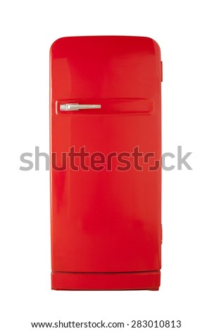 Old red vintage refrigerator isolated on white background - stock photo