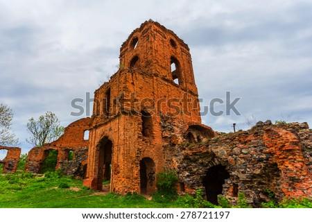 old redbrick castle ruin - stock photo