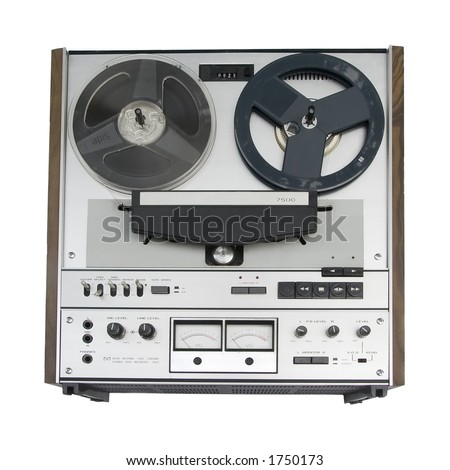 Old reel-to-reel tape deck - isolation - stock photo
