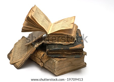 old religious book isolated on white - stock photo