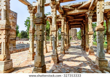 Old remains of the building structure in Qutub Minar Tower, New Delhi,India - stock photo