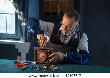 Old repair shop hours - stock photo