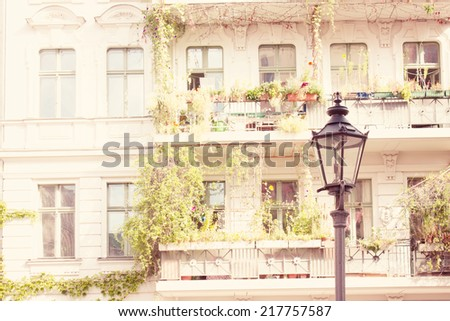 Old Restored Apartment House in Berlin, dating from the Gruenderzeit, The Founder Epoch , 19th Century, known as the Founding Epoch Architecture style  - stock photo