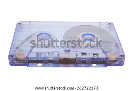 Old retro cassette isolated on white background - stock photo