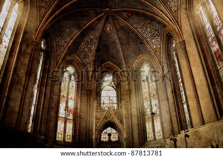 old retro churchold retro church background in gothic style - stock photo
