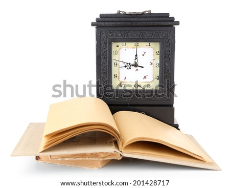Old retro clock and books, isolated on white - stock photo
