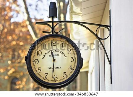Old retro clock of grand central station NY - stock photo