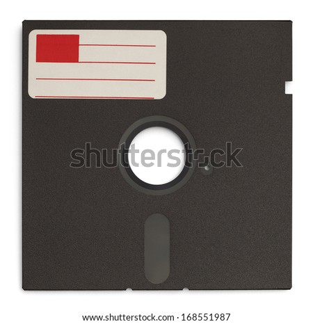 Old Retro Computer Disc with Copy Space Label Isolated on White Background. - stock photo