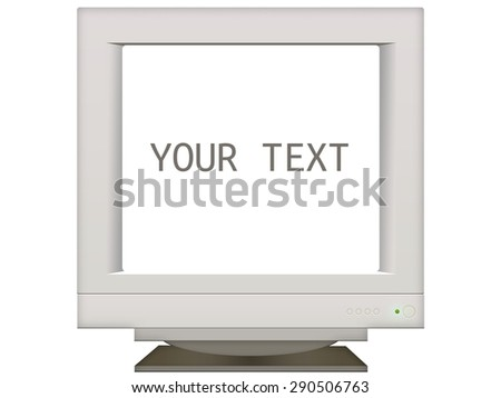 old retro monitor screen in background for presentation. place your text isolated on white - stock photo