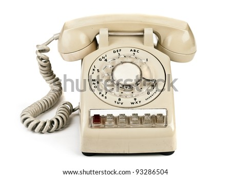 Old retro phone, a dial number - stock photo