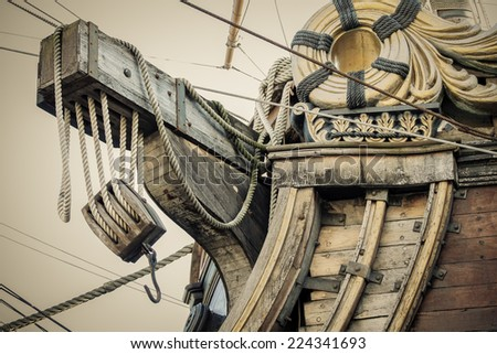 old retro ship anchor vintage sepia colors - stock photo