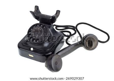 Old Retro telephone - stock photo