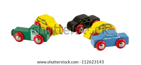 Old retro toy cars isolated on white background. Colorful objects. - stock photo