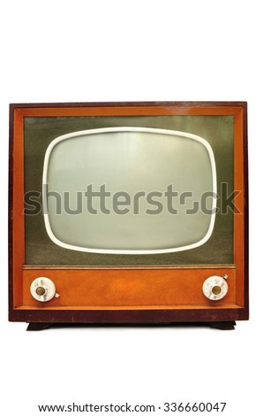 Old retroTv isolated on white background - stock photo