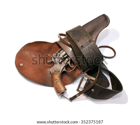 Old revolver in a holster on a belt of old on a white background - stock photo