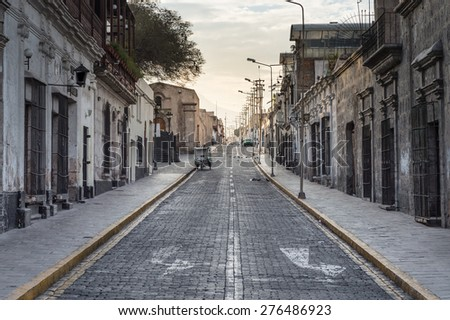Old Road and Town in the Arequipa city, Peru - stock photo