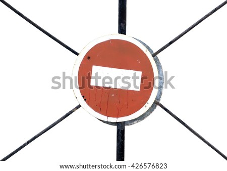 """Old road sign """"Passage prohibited"""". A road sign on a white background - stock photo"""