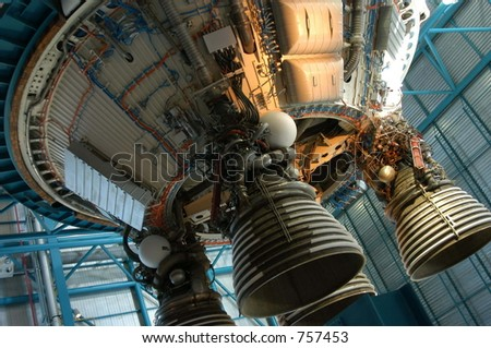 Old rocket detail at Kennedy space Center, Cape Canaveral, Florida - stock photo