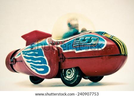 old rocket toy - stock photo