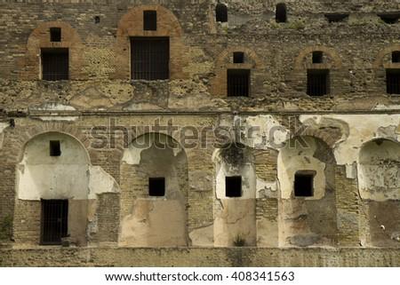 old roman fort - stock photo