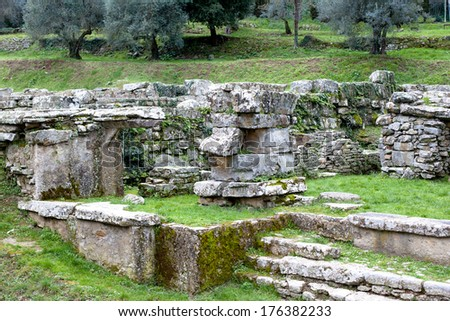 Old roman ruins in Fiesole in Italy  - stock photo