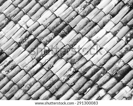 Old roof, black and white monochrome - stock photo