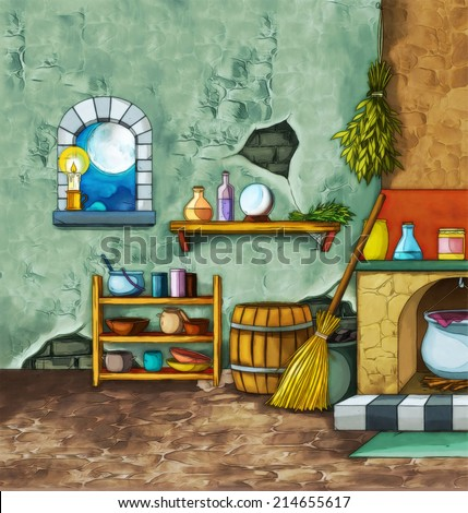 Old room - illustration for different subjects - for the children - stock photo