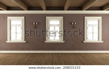 Old room with three windows,wooden ceiling and brown wall-rendering - stock photo