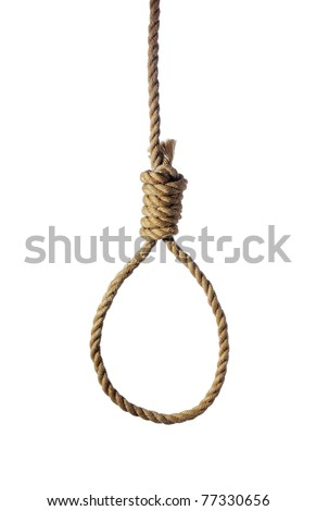 Old rope with hangman's noose isolated on white - stock photo