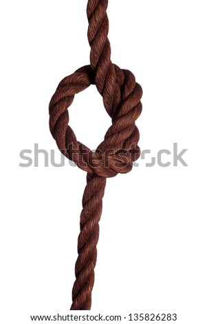 old rope with knot on white - stock photo