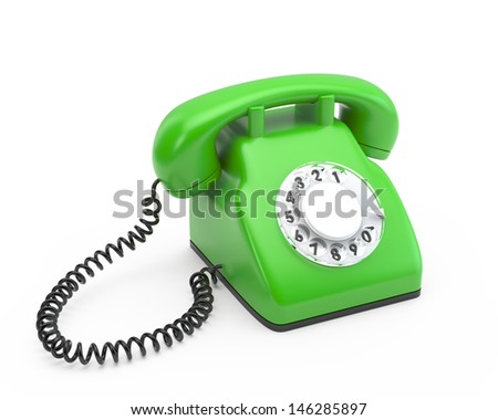 old rotary green phone  - stock photo