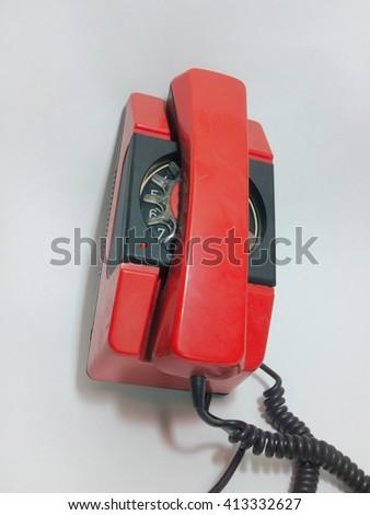 old rotary phone - stock photo