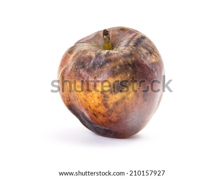 Old rotten apple with large DOF on white background - stock photo