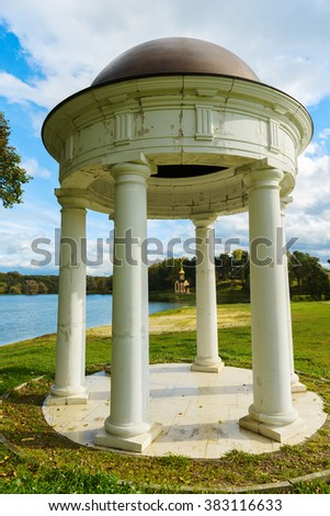 Old rotunda in the park Sukhanovo. Moscow region. Russia - stock photo