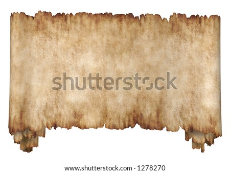 Old rough antique horizontal manuscript roll of parchment paper texture background isolated - stock photo
