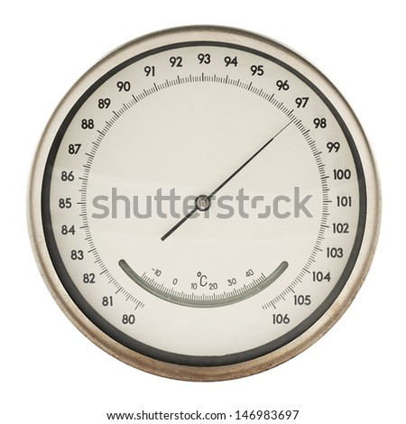 Old round barometer meter isolated over white background - stock photo
