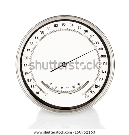 Old round barometer meter isolated over white background. Measuring device - stock photo