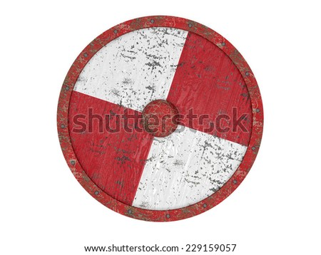 Old round shield - stock photo
