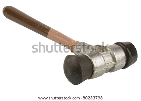 Old Rubber hammer isolated on white background \ Old Rubber mallet - stock photo