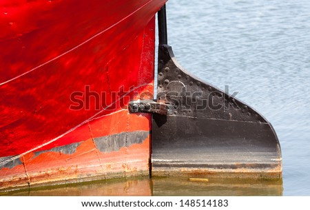 Old rudder of the ship, steering gear - stock photo