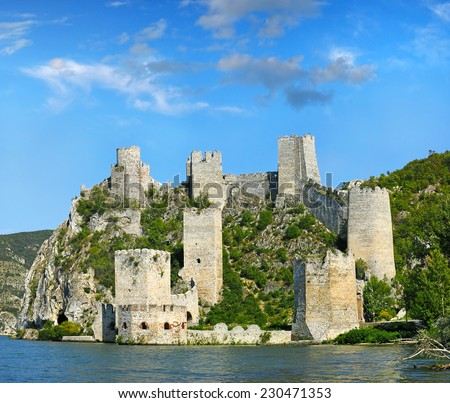 Old ruined Golubac fortress on Danube in Djerdap (Iron gates) national park, Serbia - stock photo