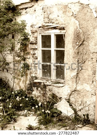 old ruined house and window  - stock photo