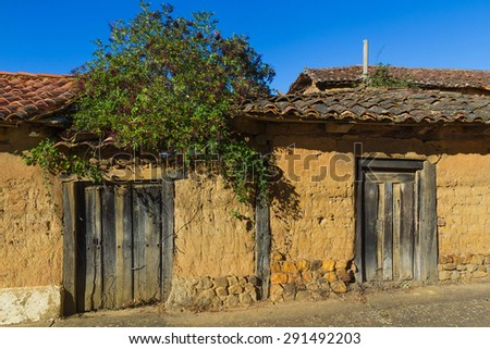 Old rural buildings, dilapidated, made with adobe and wooden doors. On the facade sprouts a plant with fruits of black elderberry  - stock photo