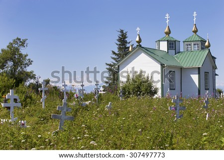 Old Russian Orthodox Church in Ninilchik, Alaska - stock photo