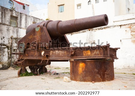 Old rusted coastal cannon in Medina of Tangier, Morocco - stock photo