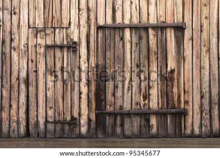 Old Rustic Barn Door - stock photo