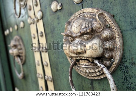 Old Rustic Wooden Temple Door, George Town, Malaysia - stock photo