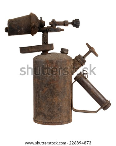 Old rusty blowtorch isolated on white background - stock photo