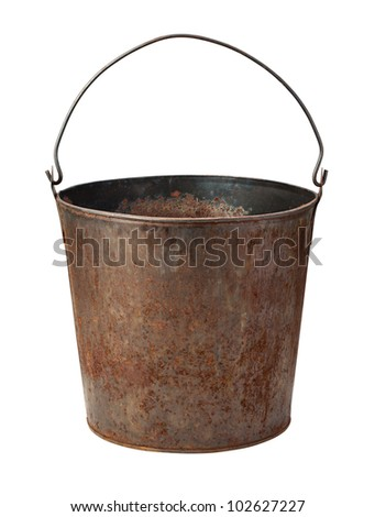 Old Rusty Bucket isolated on white with a clipping path - stock photo